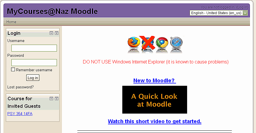 moodle log in screen