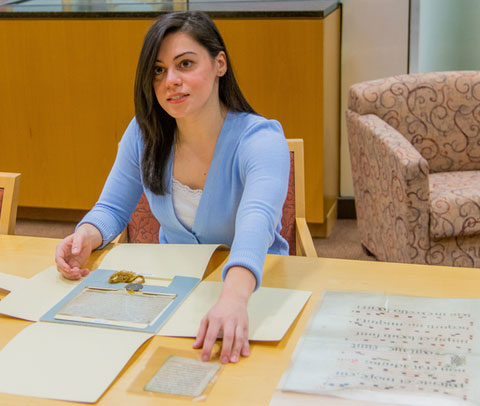 Kristen Vitale interned at the rare books library at University of Rochester