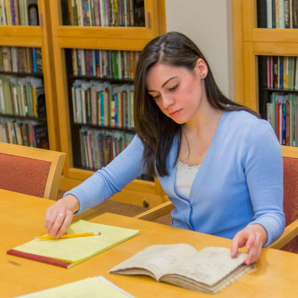 Kristen Vitale, history major, interned at the rare books library at University of Rochester