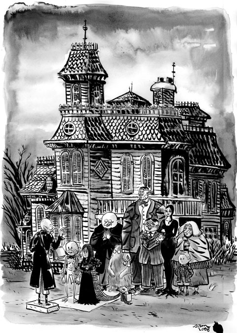 Charles Addams illustration of The Addams Family