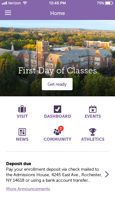 Nazareth College app homescreen has options such as Community