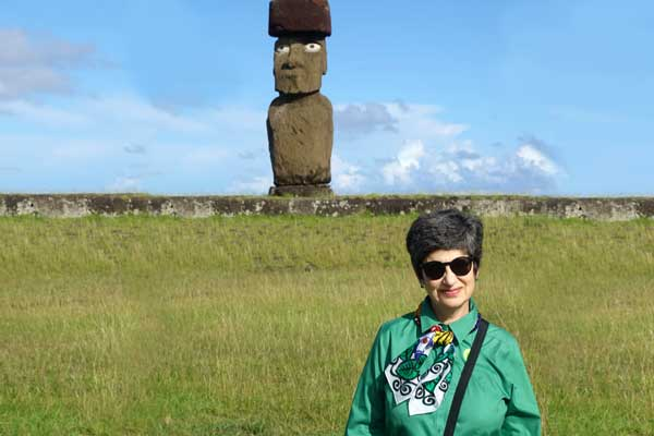 Patrice Pallone '72 expanding her horizons on Easter Island, a remote location in the South Pacific