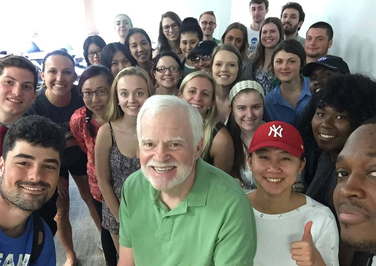 Mark Weber with cross-cultural management class students