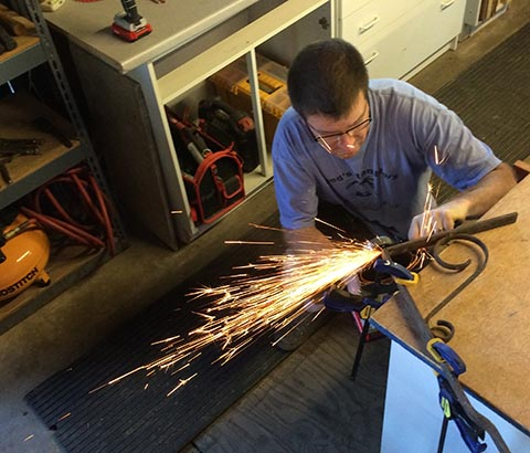 David Steitz has sparks flying as he works on a project at his home B&B.