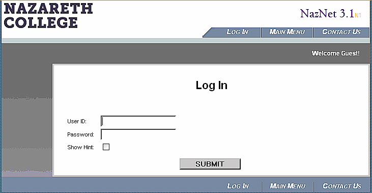 naznet log in screen